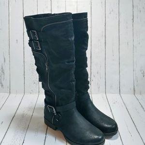 NWOB FERGALICIOUS Hazard black moto tall boots